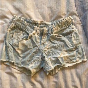 Tie dye light jean shorts